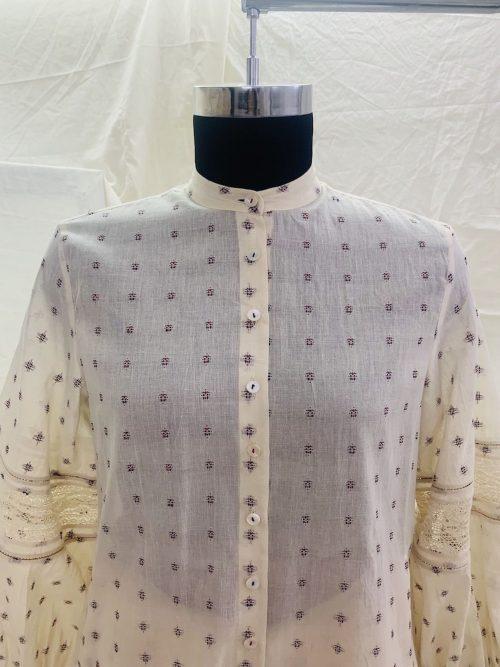 LACE PANEL SHIRT DRESS