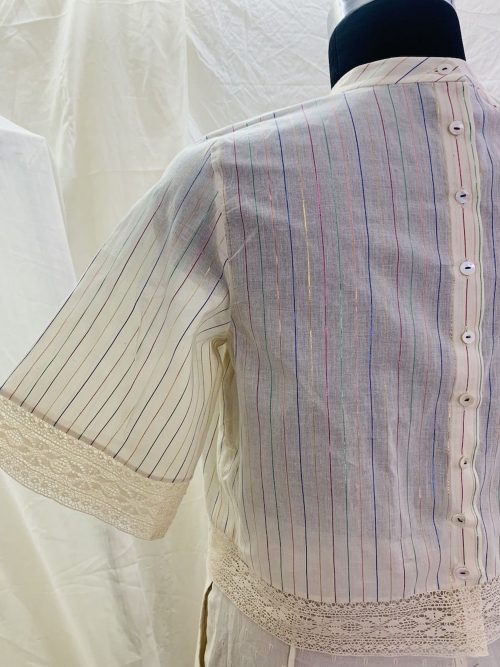 RAINBOW STRIPES BACK BUTTONED TOP
