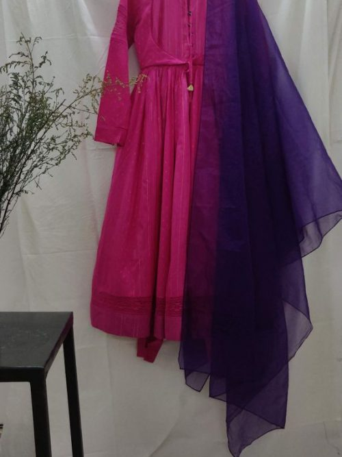 FUCHSIA PANEL ANARKALI AND ANKLE LOOPED PANTS WITH PLUM ORGANZA DUPATTA