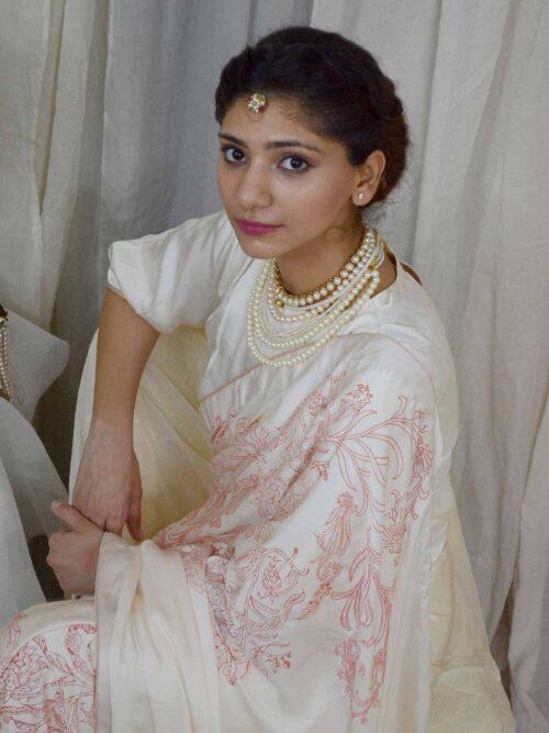 Intricate Ivory Saree